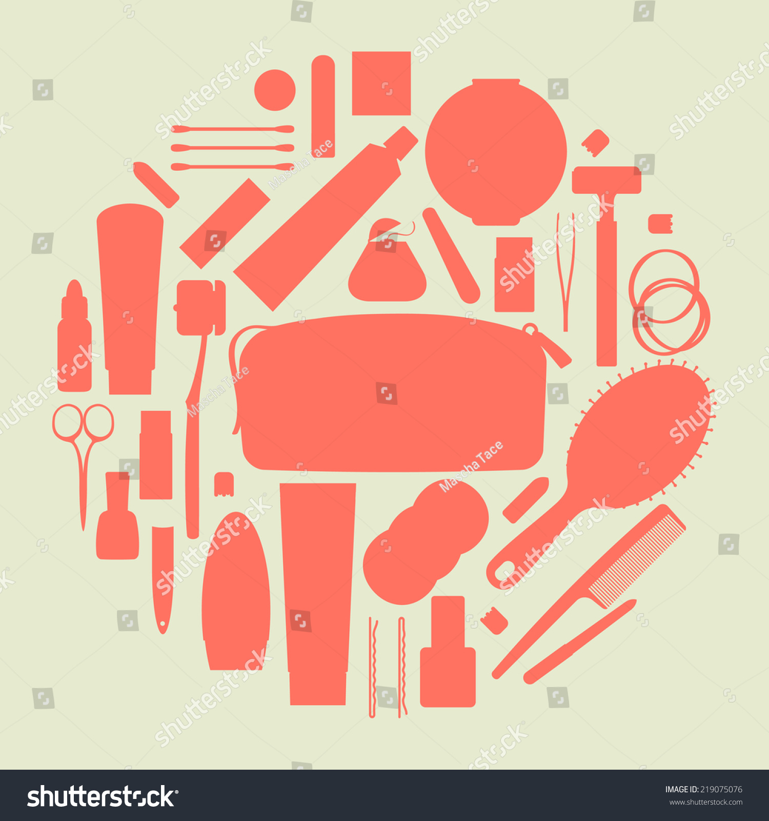 Vector Flat Modern Creative Circle Design On Travel And Portable Toiletry Items ...