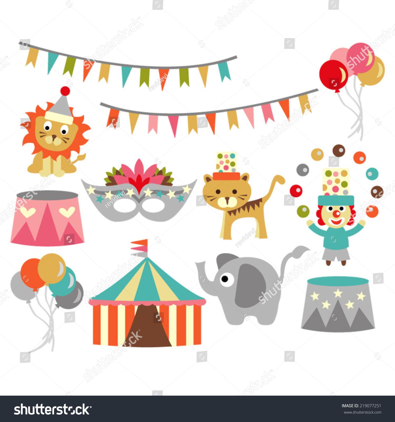 Circus Vector Banners Tent Mask Balloons Stock Vector 219077251 ...