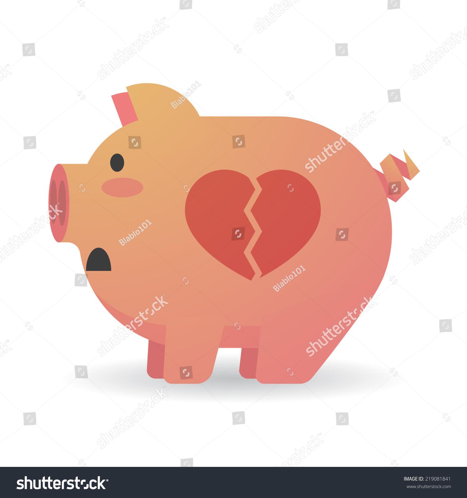 Illustration Isolated Cartoon Pig Heart Stock Vector 219081841 ... for Pig Heart Cartoon  54lyp
