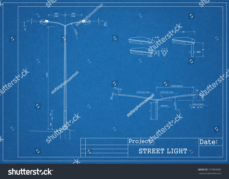 Street light blueprint stock illustration 219084985 shutterstock street light blueprint malvernweather Choice Image