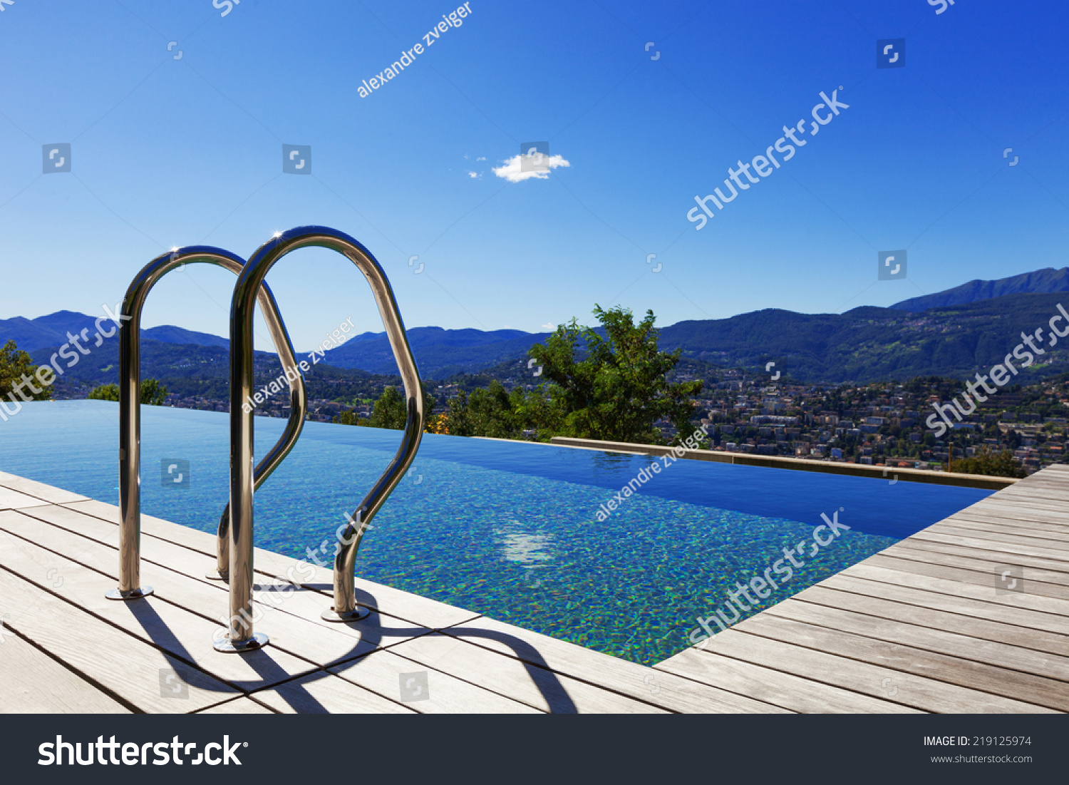 Grab Bars Ladder Swimming Pool Outdoor Stock Photo