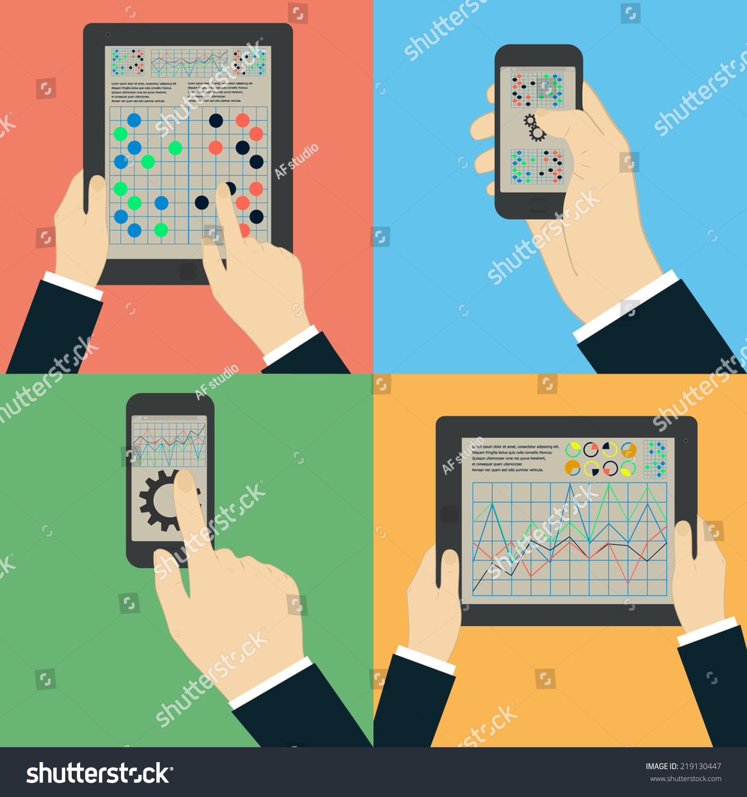 Interaction Hands Using Mobile Apps Phone Stock Vector (Royalty Free