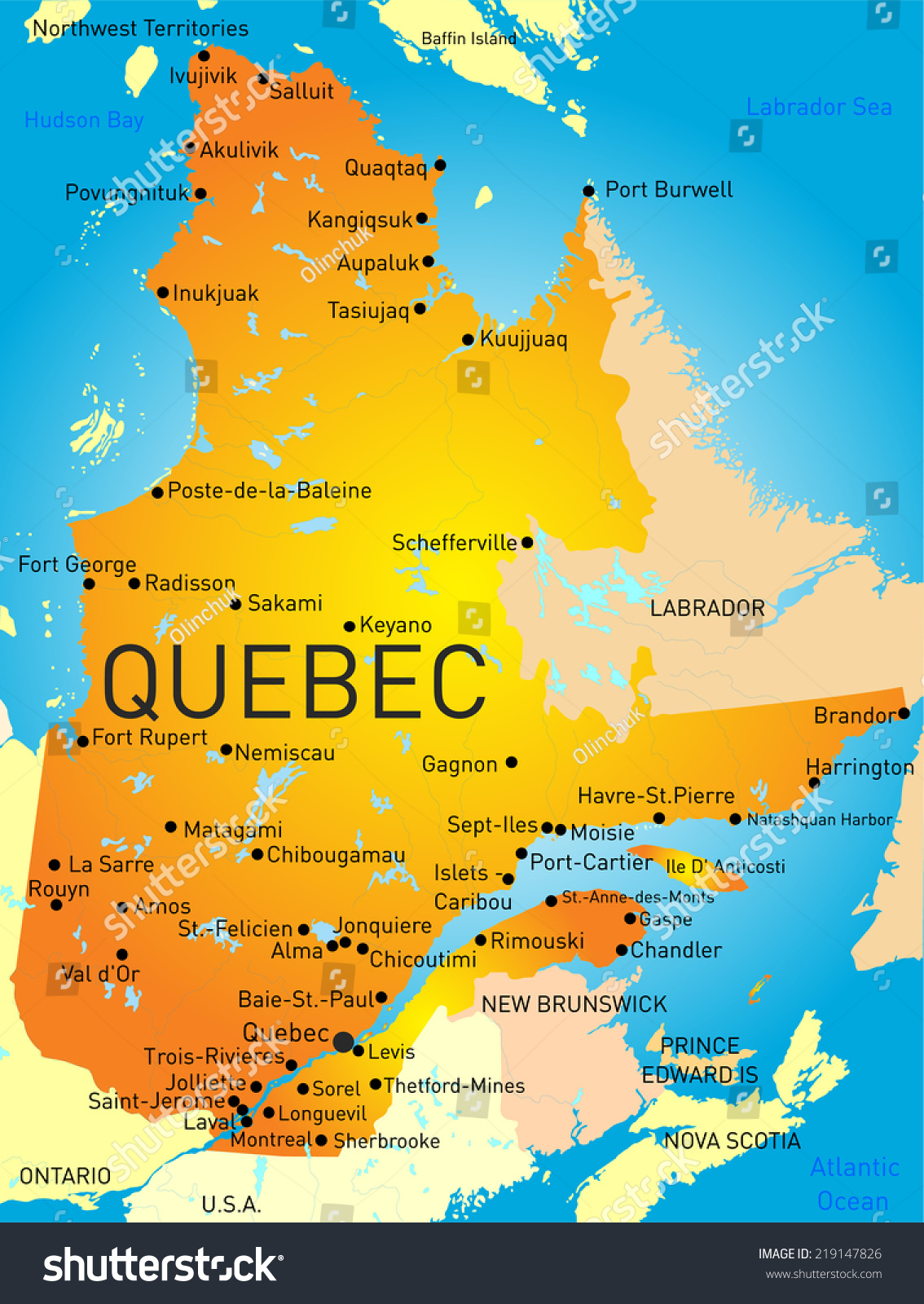 Vector Color Map Quebec Province Stock Vector Shutterstock - Map of quebec