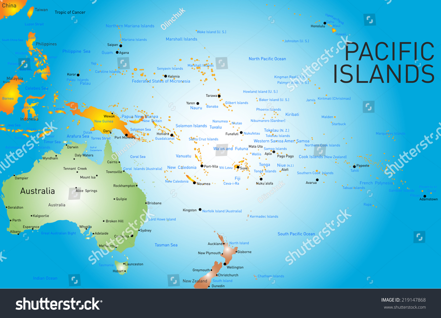 vector color map of pacific islands. vector color map pacific islands stock vector   shutterstock