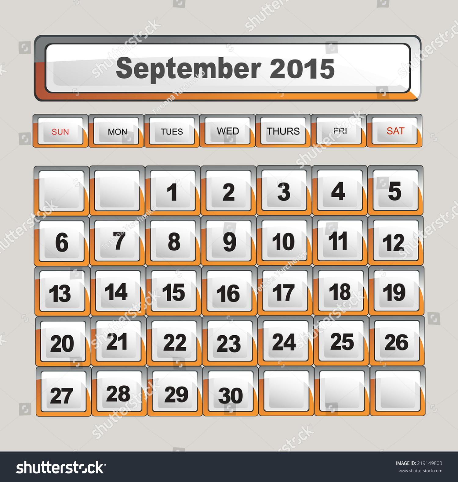 september 2015 calendar template