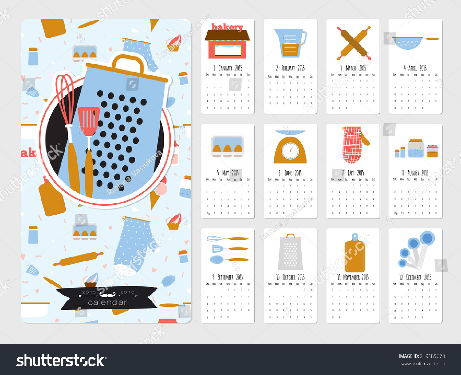 Calendar Illustration Search : Unusual calendar for cute vector food icons with