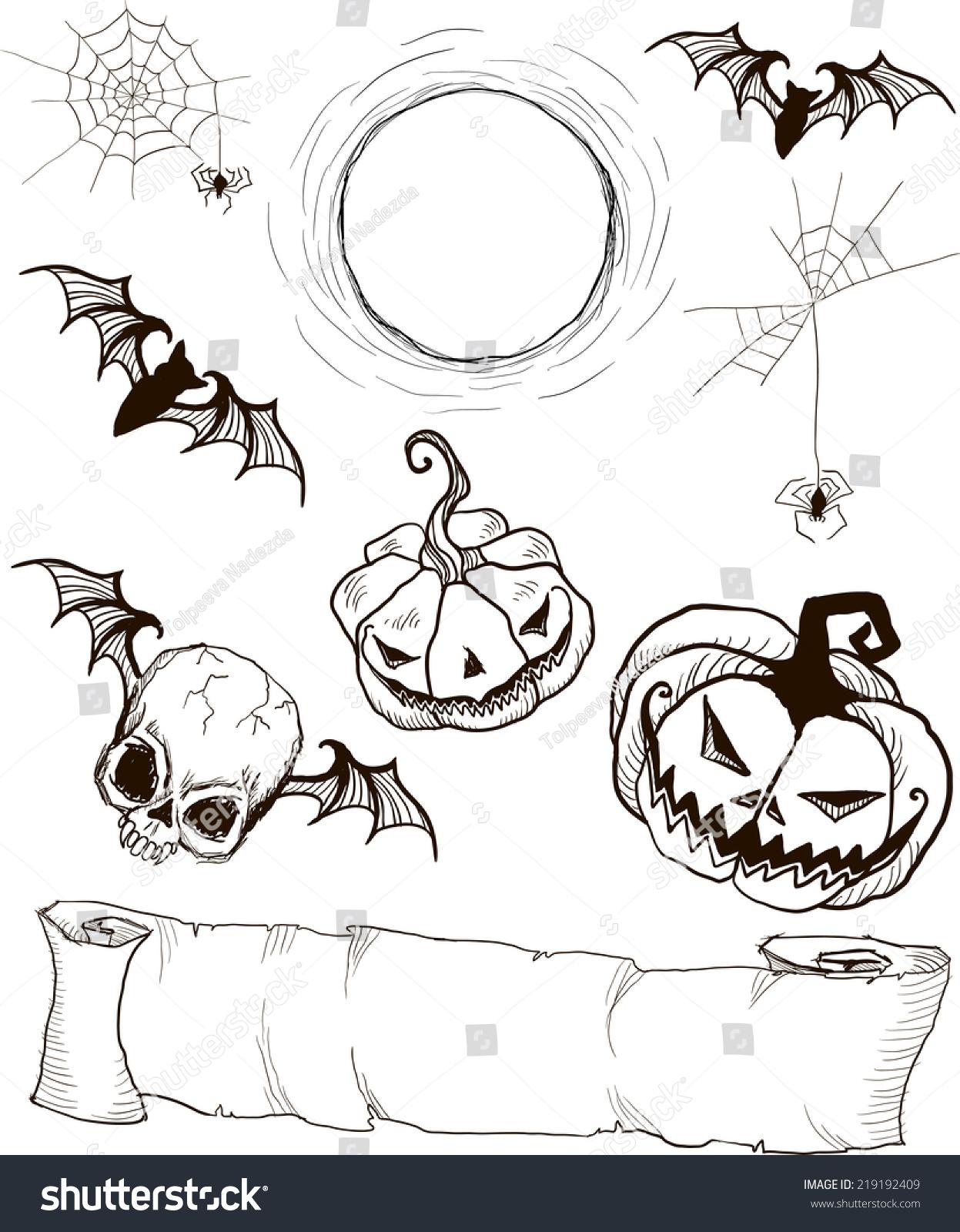set of gothic hand painted halloween items scroll skull pumpkin bat - Halloween Items