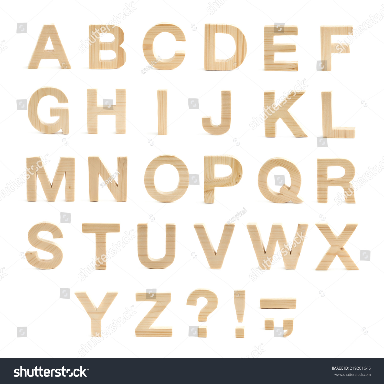 Wooden Abc Letter Alphabet Set Of Latin Letters And Symbols Made Of