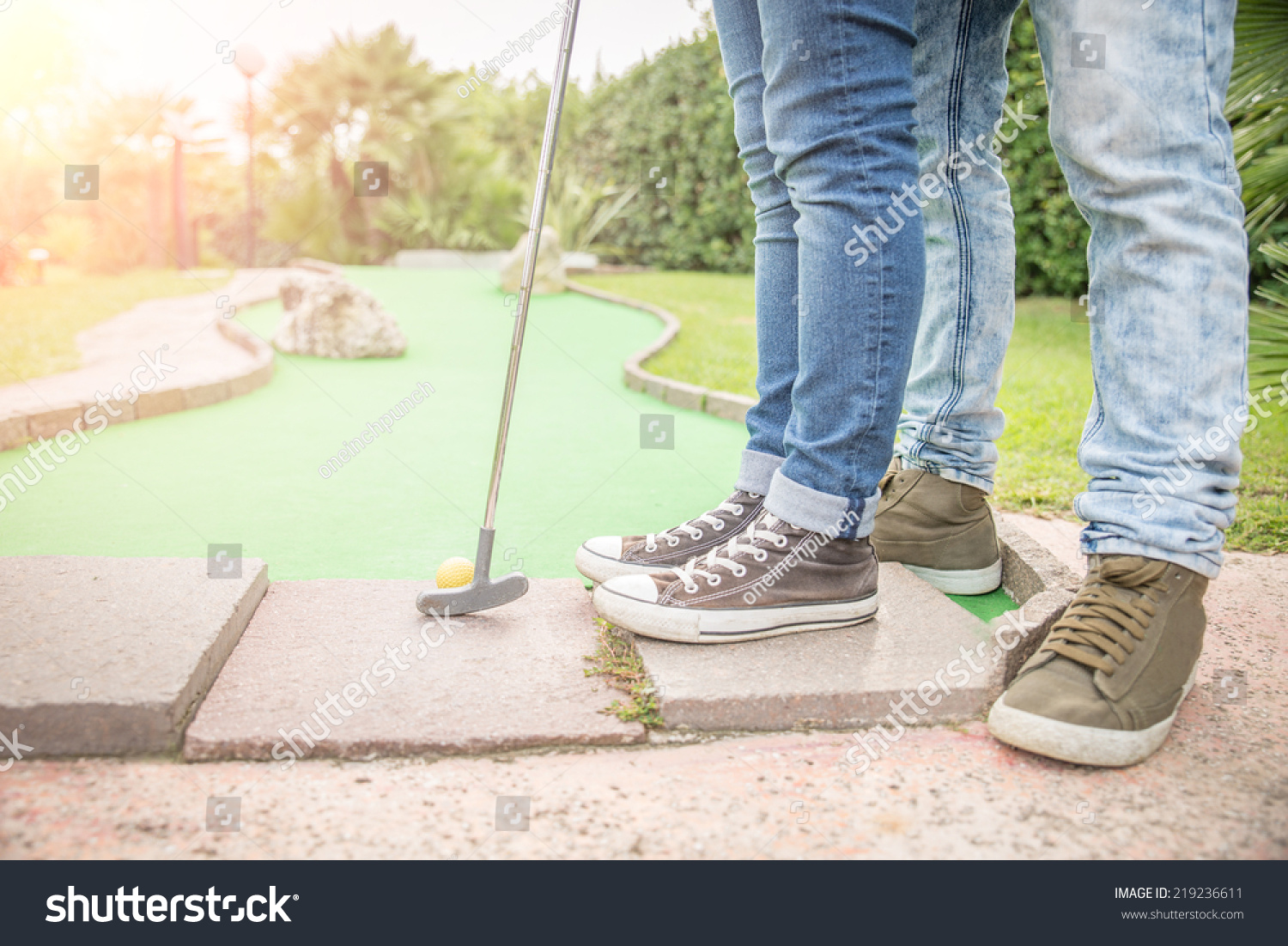 Mini Golf Club Boyfriend Teaching His Stock Photo