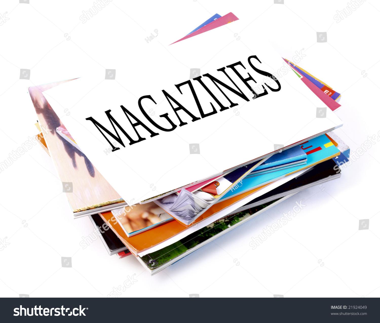 Pile Magazines On White Background Stock Photo 21924049