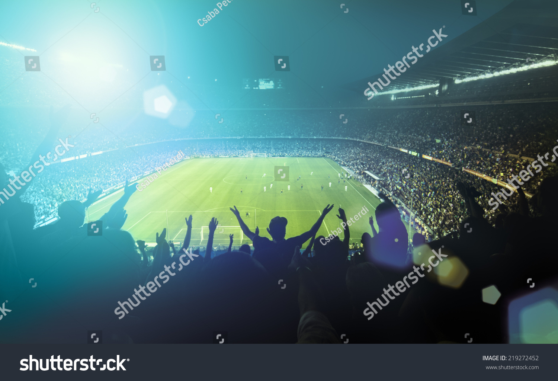 crowded football stadium  #219272452