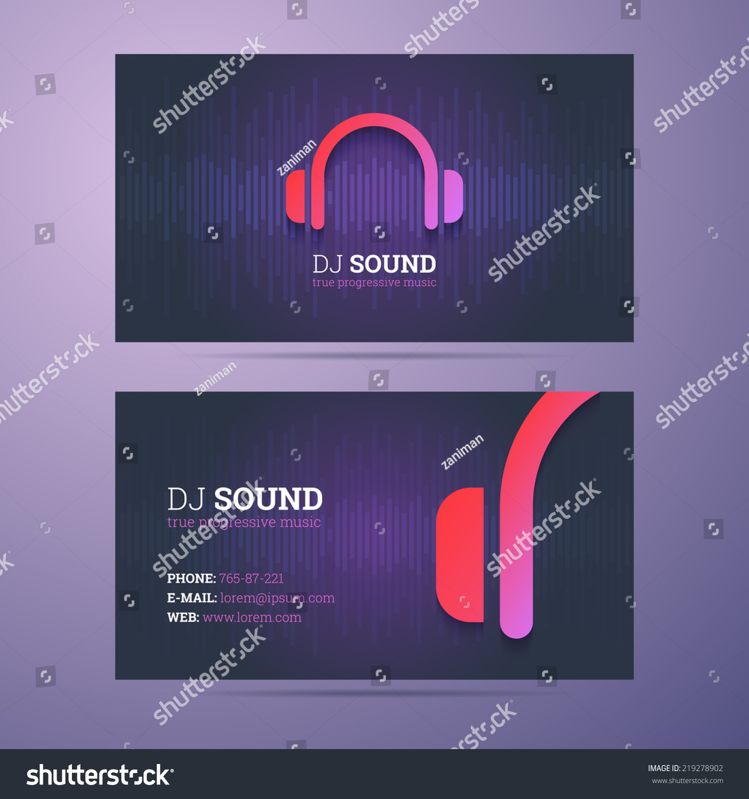 Business Card Template Dj Music Business Stock Vector