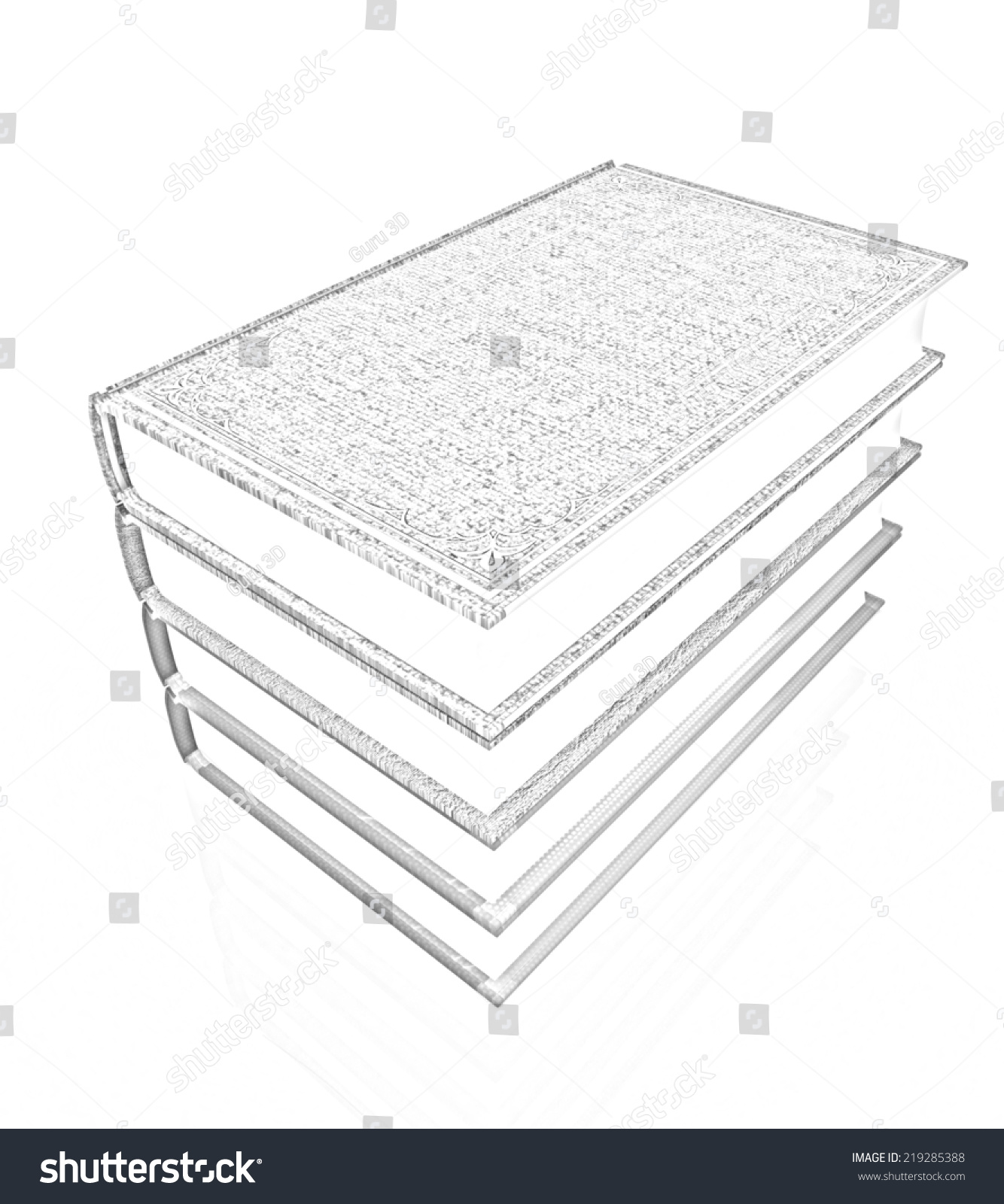 The stack of books on a white background pencil drawing