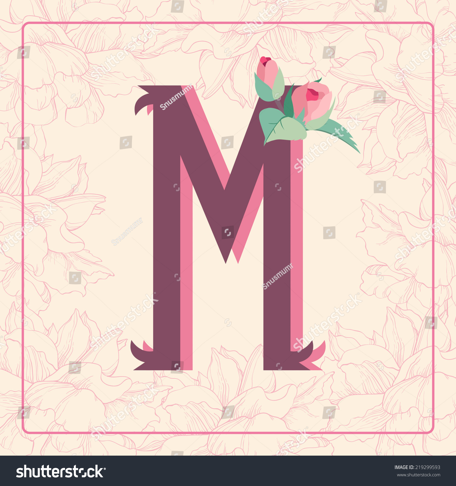 Vintage Style Letter M With Rose Flowers In Floral Frame