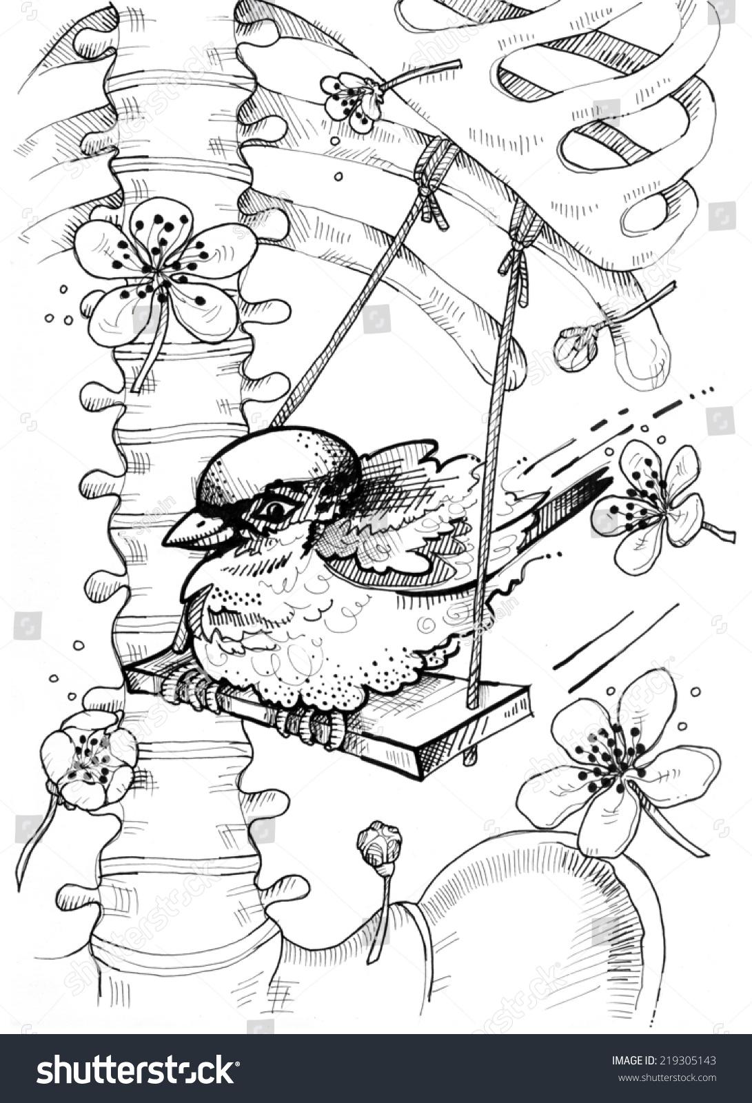 Sparrow Swinging On Ribs Human Anatomy Stock Illustration 219305143