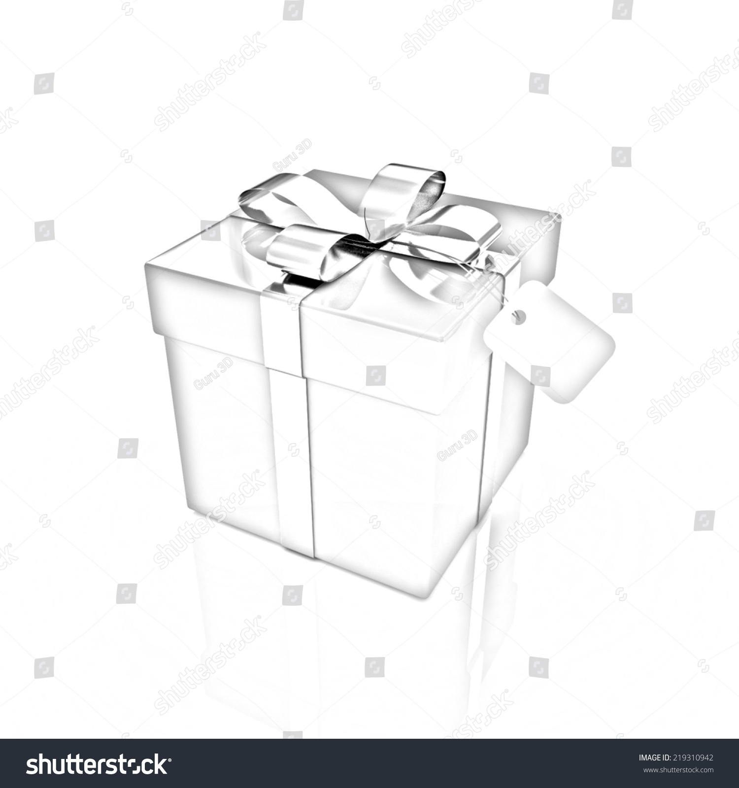 Gift box on a white background pencil drawing