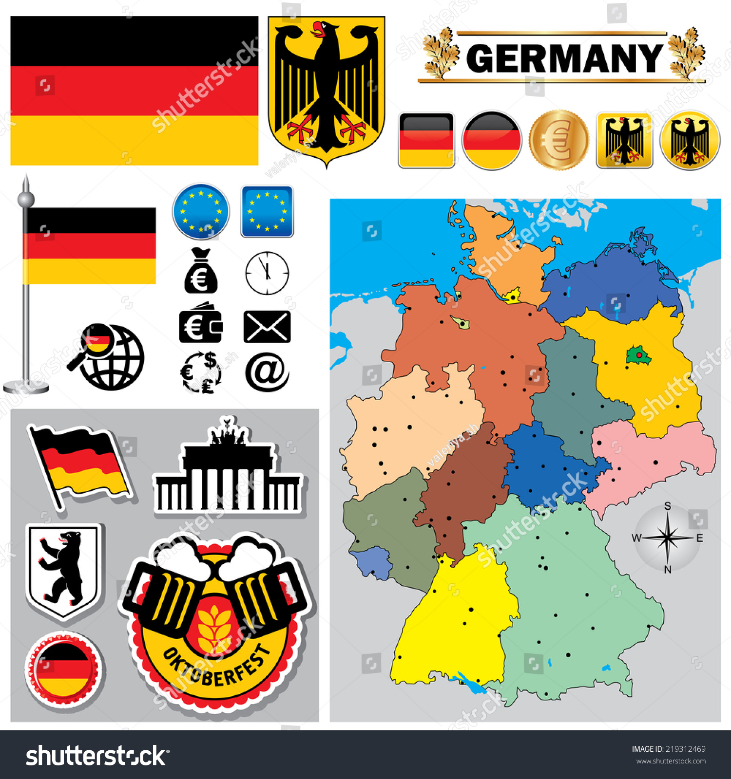 Vector Map Germany Set Signs Symbols Stock Vector Royalty Free