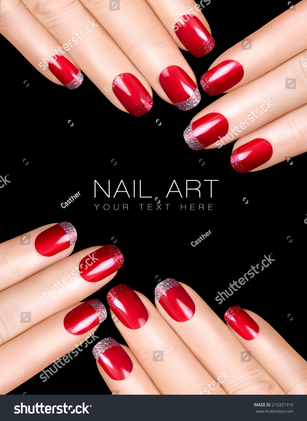 holiday nail art luxury nail polish with glitter french manicure in