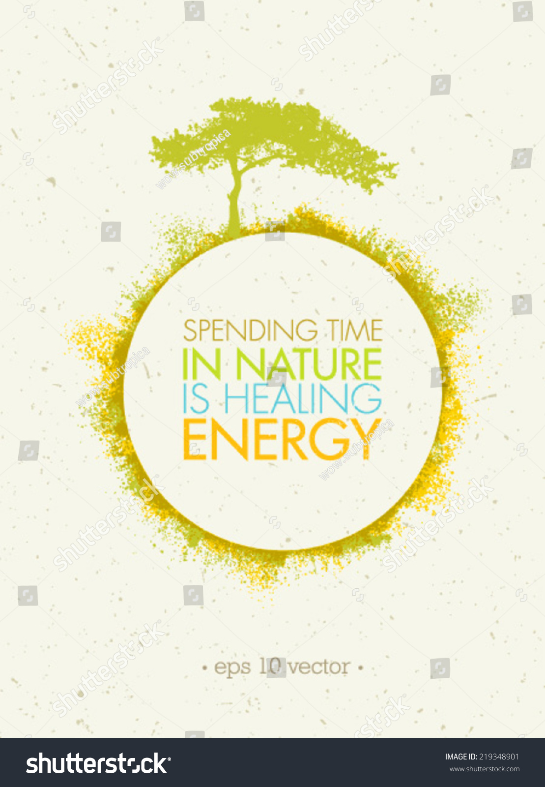 Poster design nature - Spending Time In Nature Is Healing Energy Eco Circle Poster Concept On Paper Background
