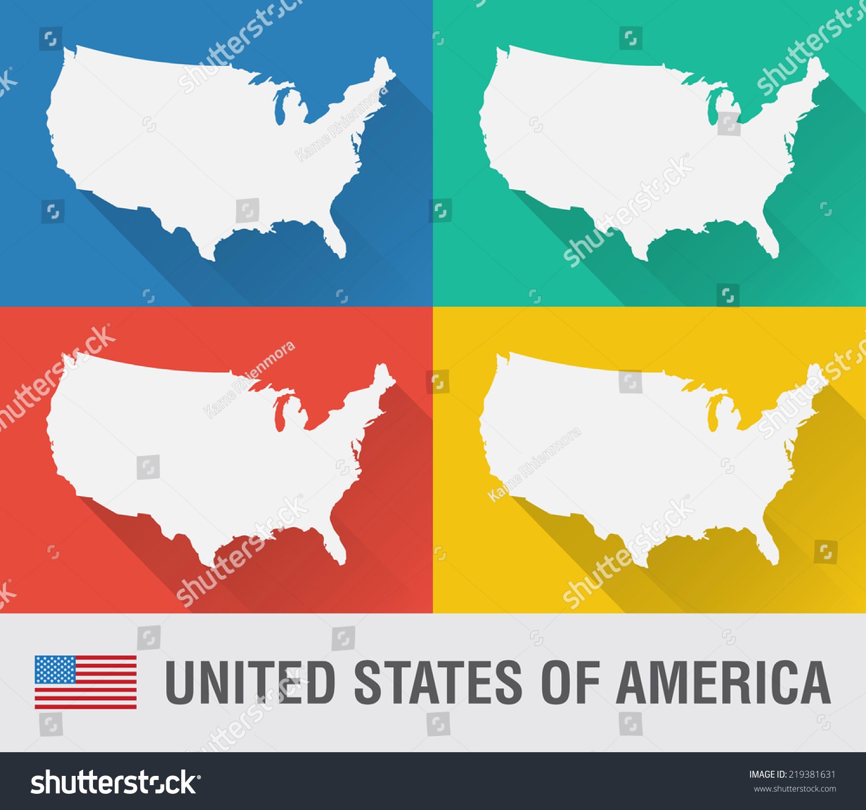 Usa World Map Flat Style Stock Vector Shutterstock - Flat us map