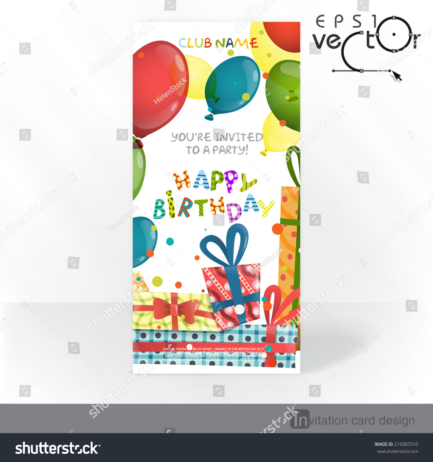 Colorful birthday background party invitation card stock vector colorful birthday background party invitation card stock vector 219387310 shutterstock stopboris Images