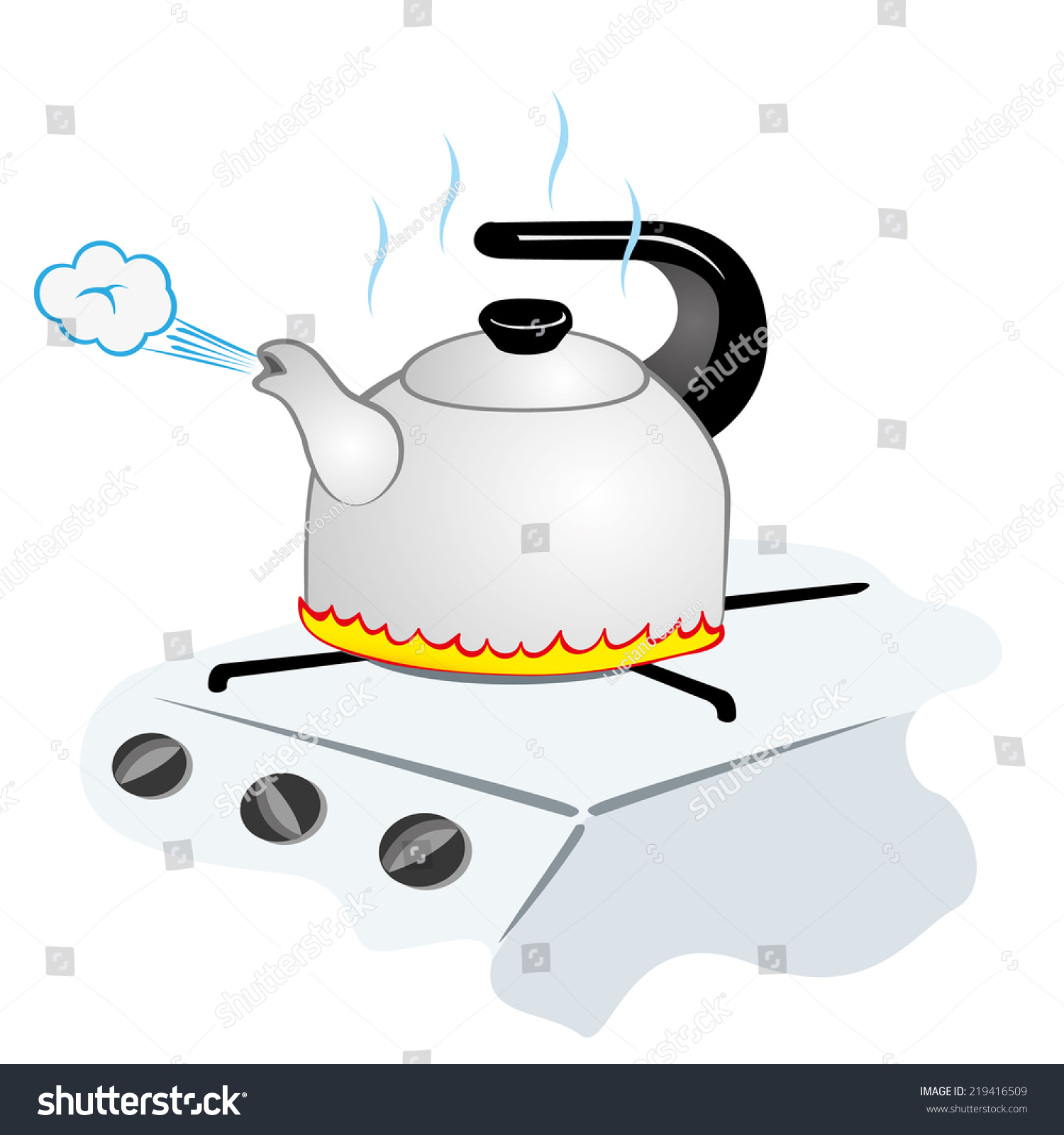 Illustration Representing A Kettle With Boiling Water On ...