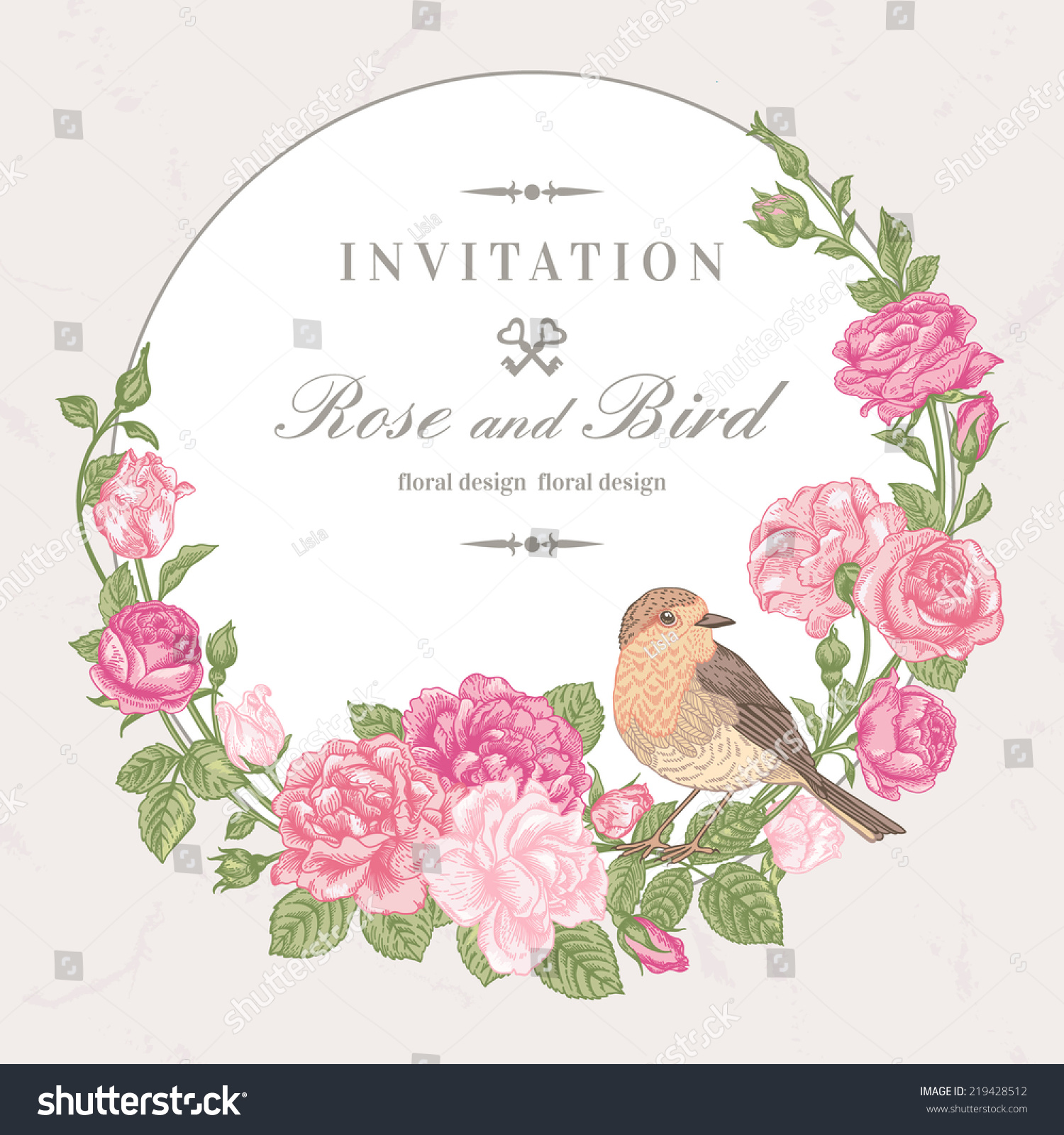 Beautiful Vector Frame With Pink Roses And Birds In Vintage Style ...