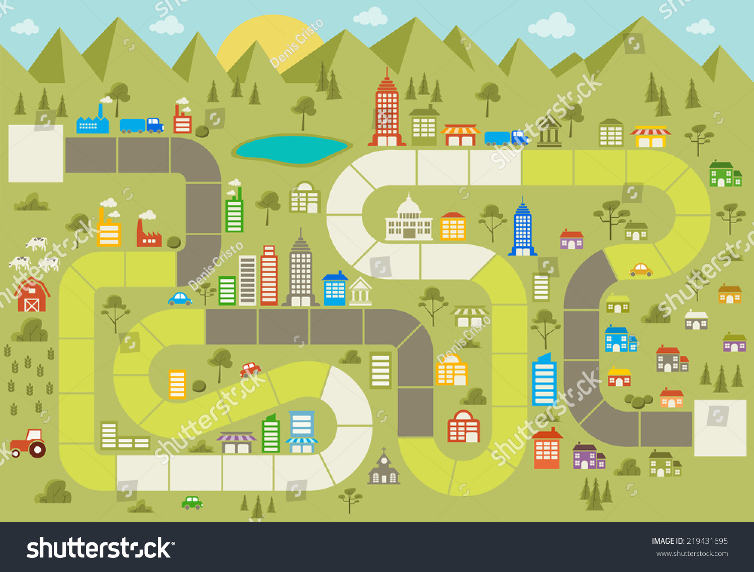 Board Game Block Path On City Stock Vector 219431695 ...