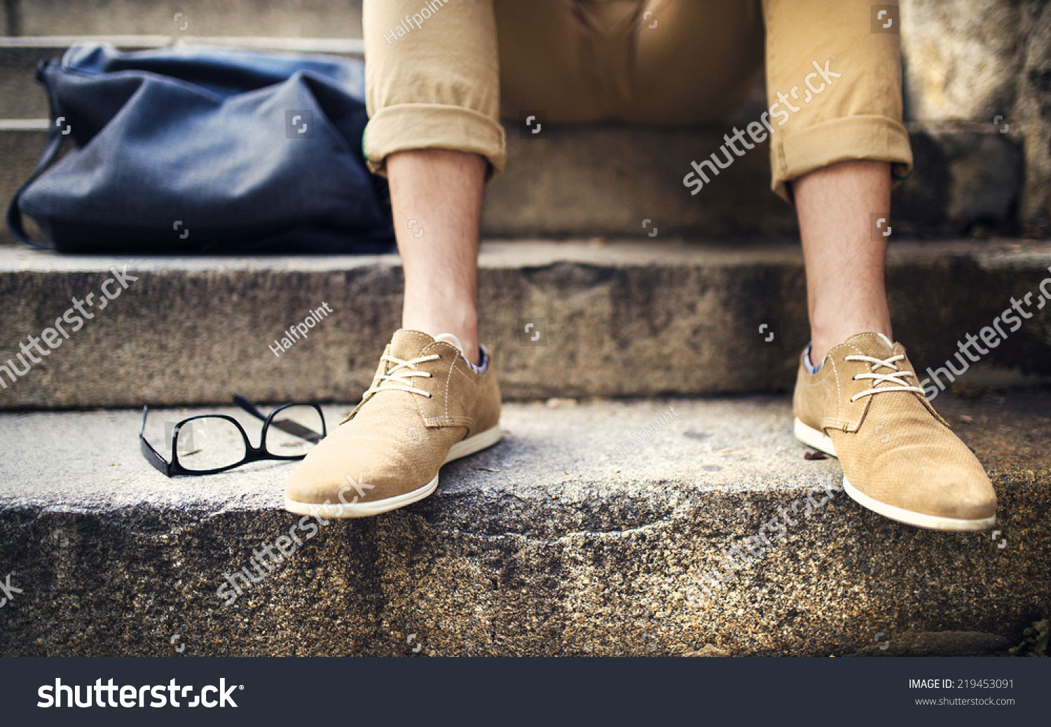 Detail Modern Hipster Feet Sitting On Stock Photo ...