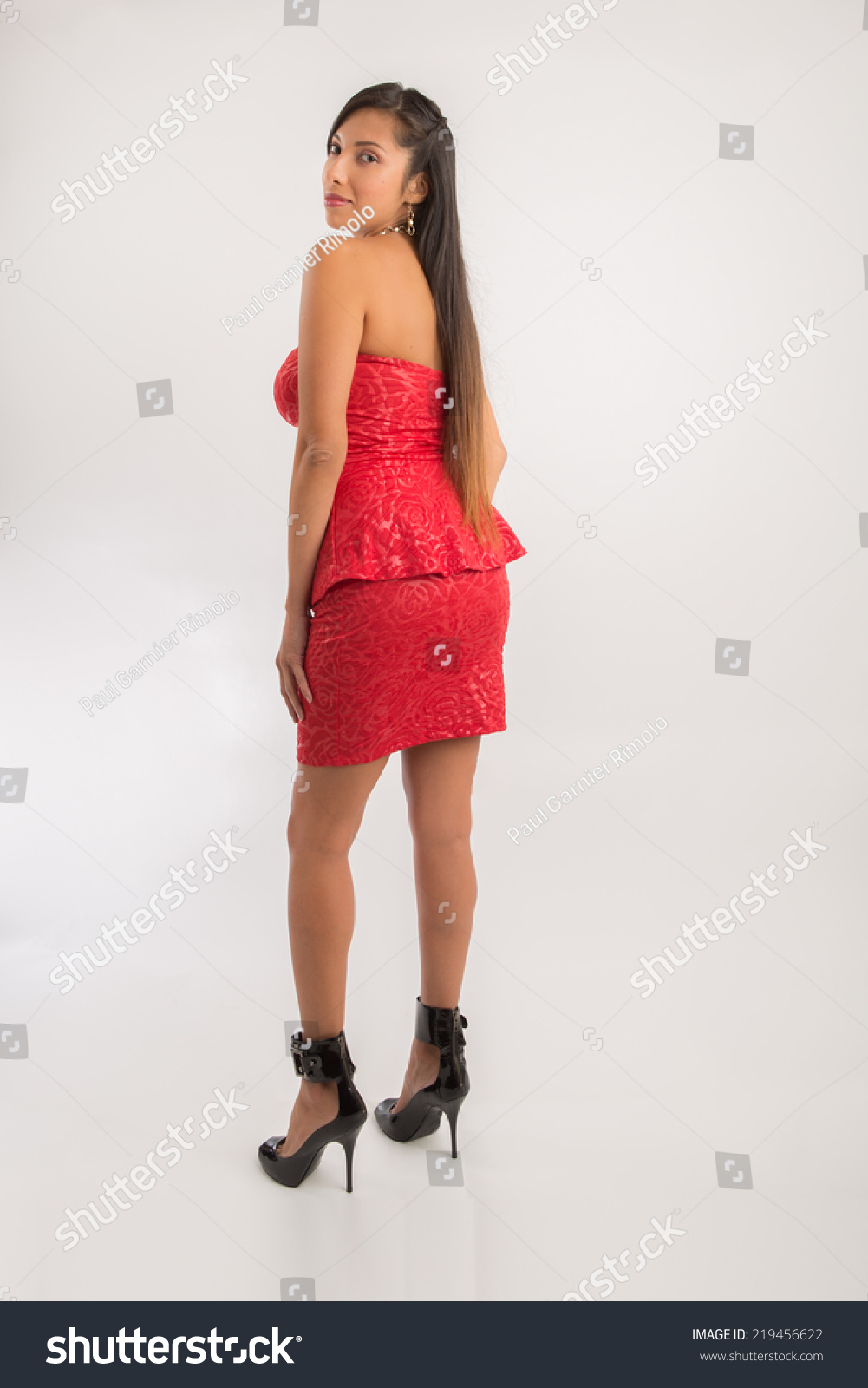 Woman Wearing Coral Color Cocktail Dress Stock Photo (Royalty Free ...
