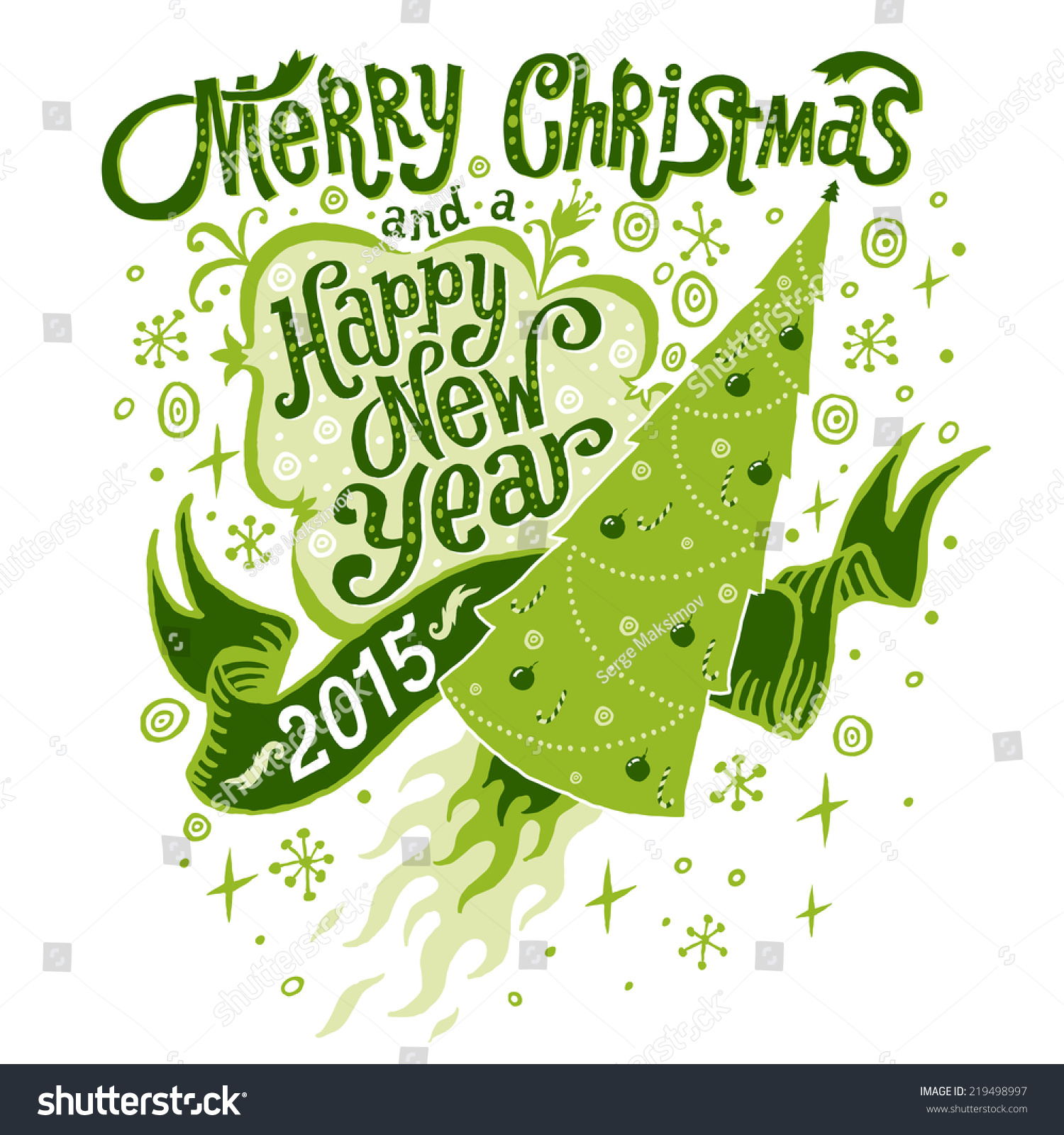 Merry Christmas Happy New Year 2015 Stock Vector Hd Royalty Free