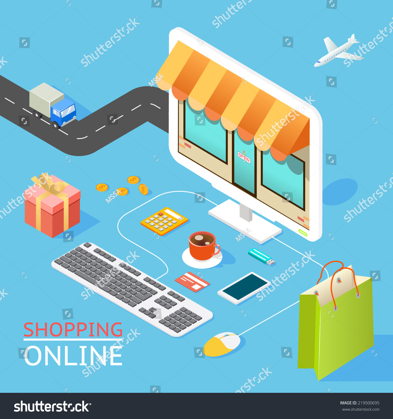 Vector concept of online shop in 3d flat design for 3d flat design online