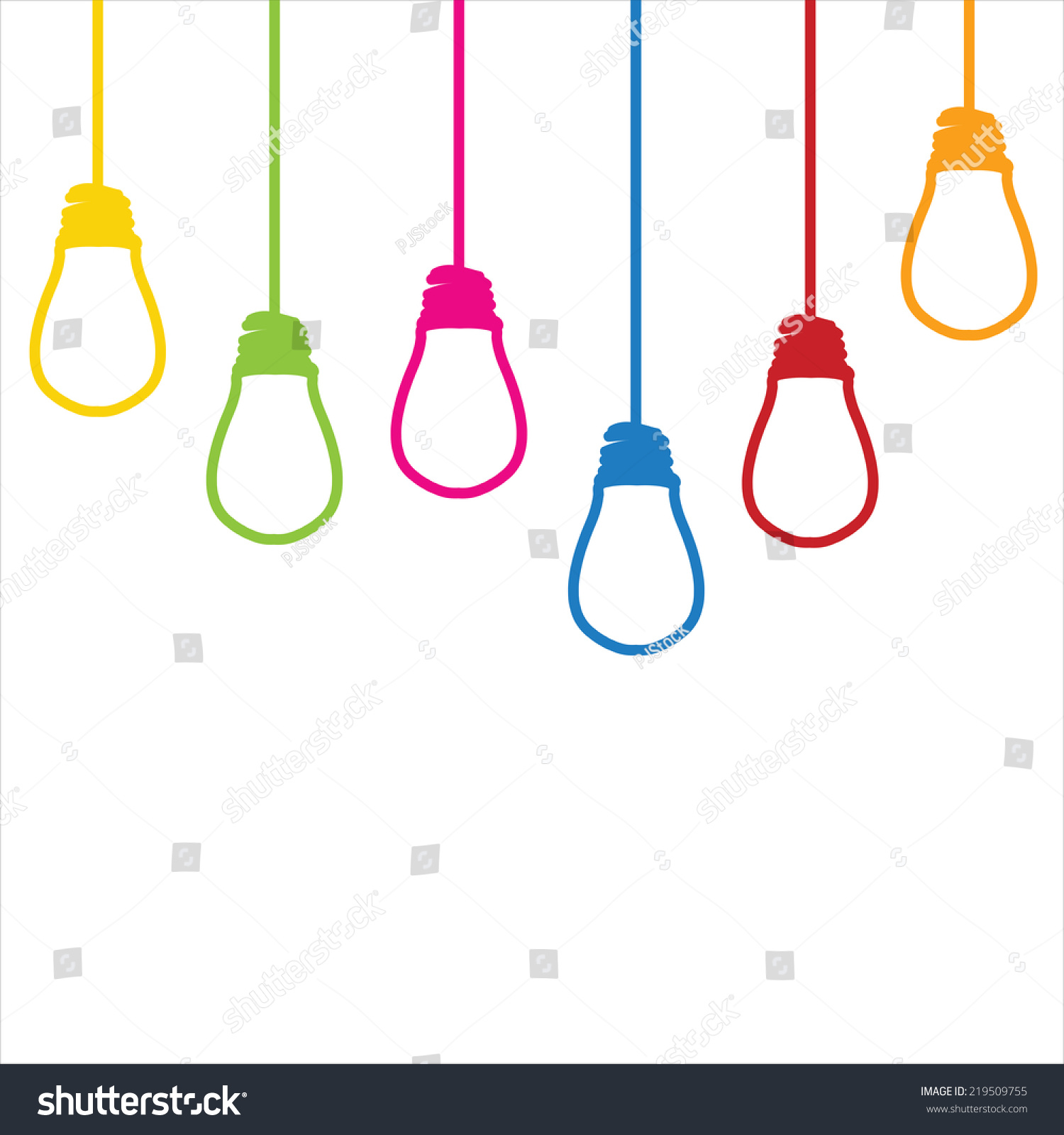 Light Bulb Colorful Wires Hanging Ceiling Stock Vector 219509755 ...