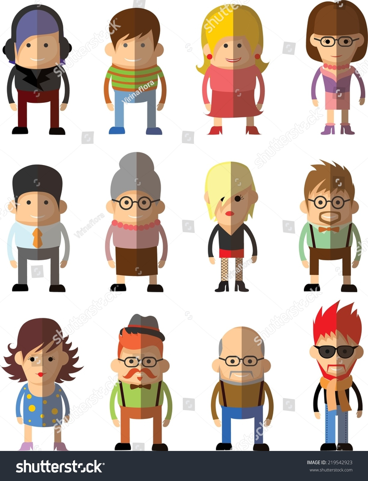 Flat Design Character Download : Set vector cute character avatar icons stock
