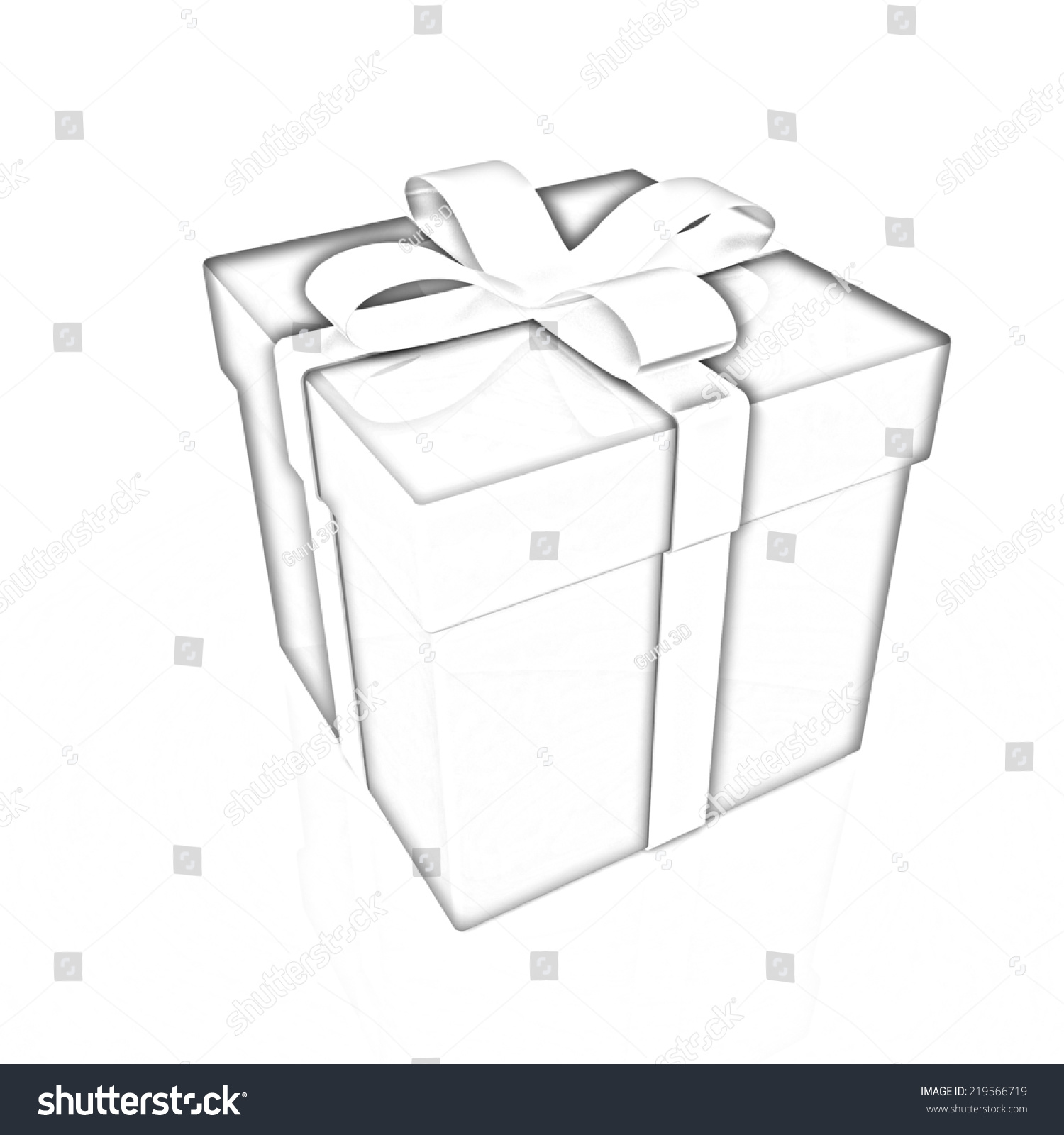 Bright christmas gift on a white background pencil drawing