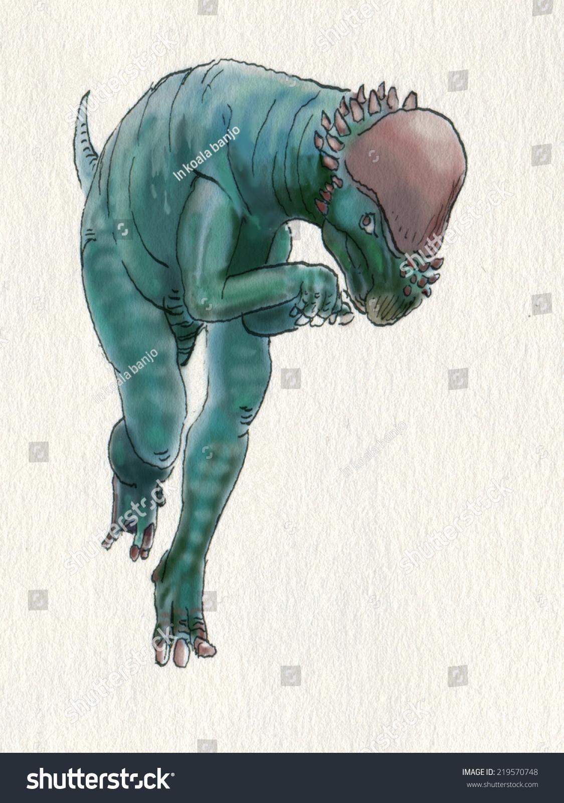 Dinosaur Letter P Artistic Hi Res Drawing Handmade Illustration Of Pachycephalosaurus Greek For