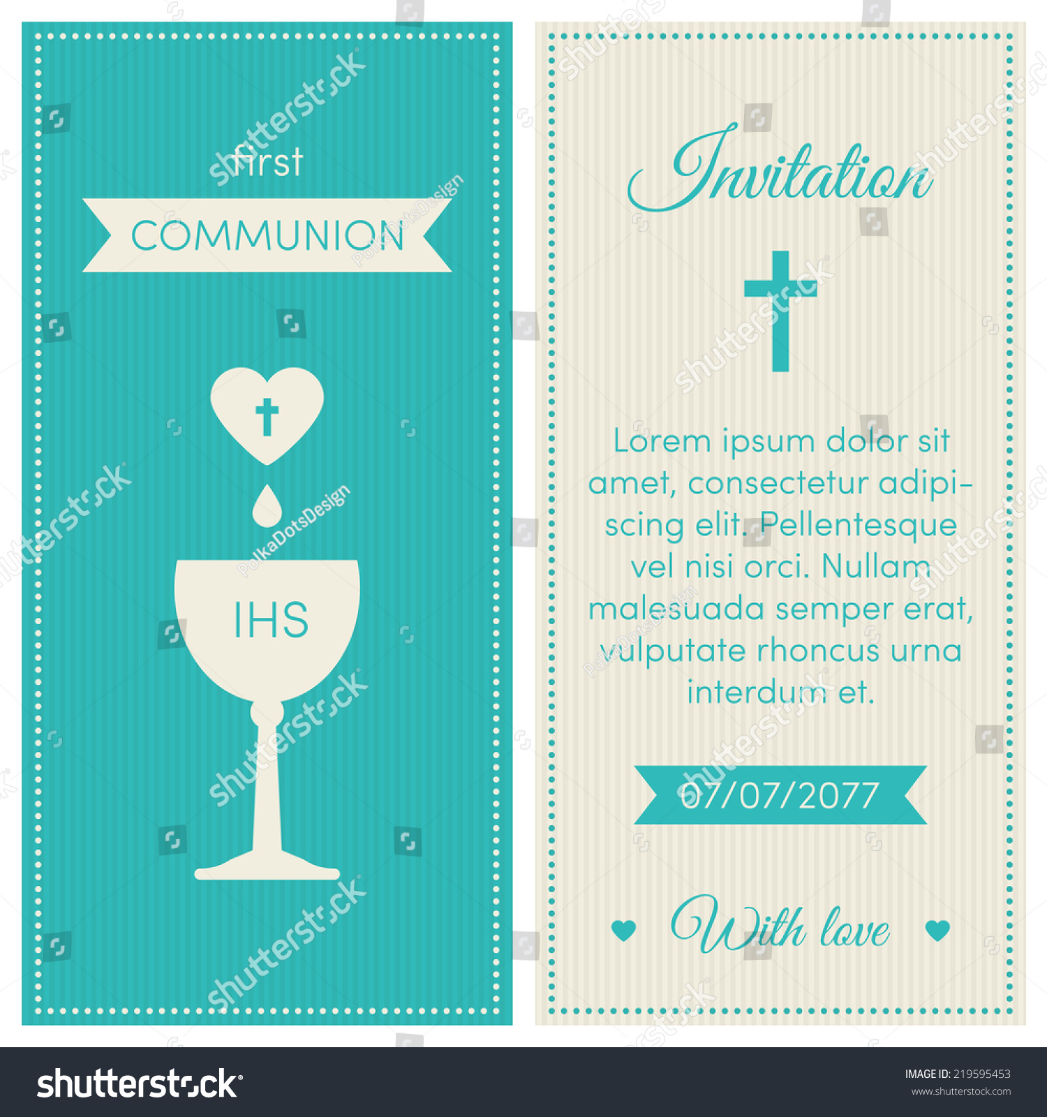 first communion invitation template blue and cream colors illustration of chalice with wine