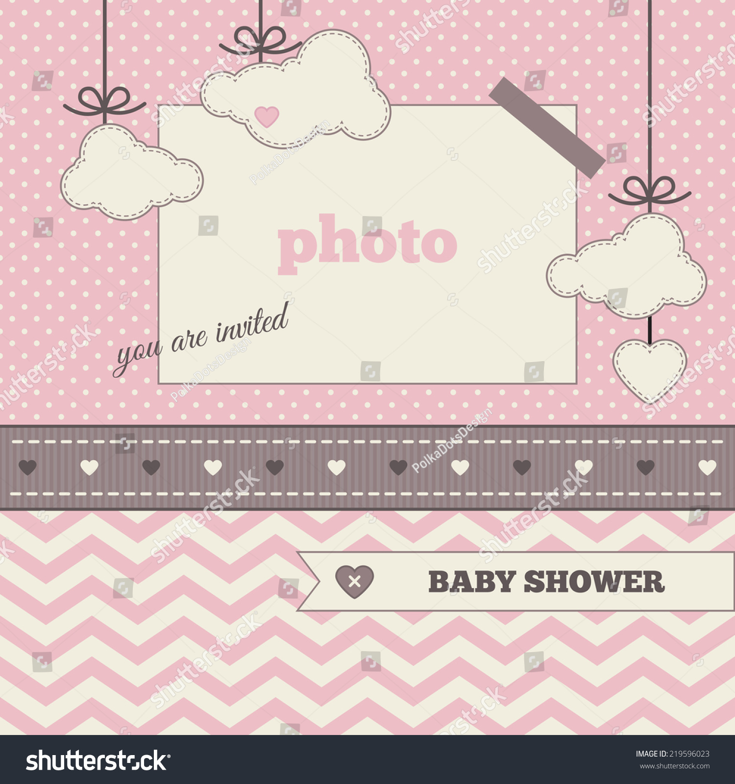 Baby Shower Invitation Template Brown Pink Stock Vector 219596023 ...