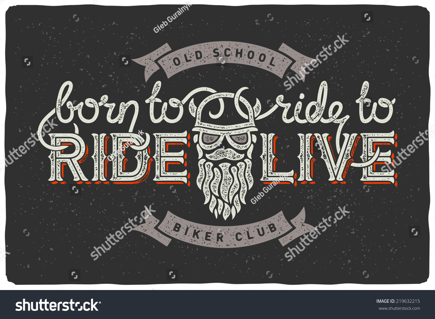 Biker club badge emblem with beard man and slogan born to ride ride to