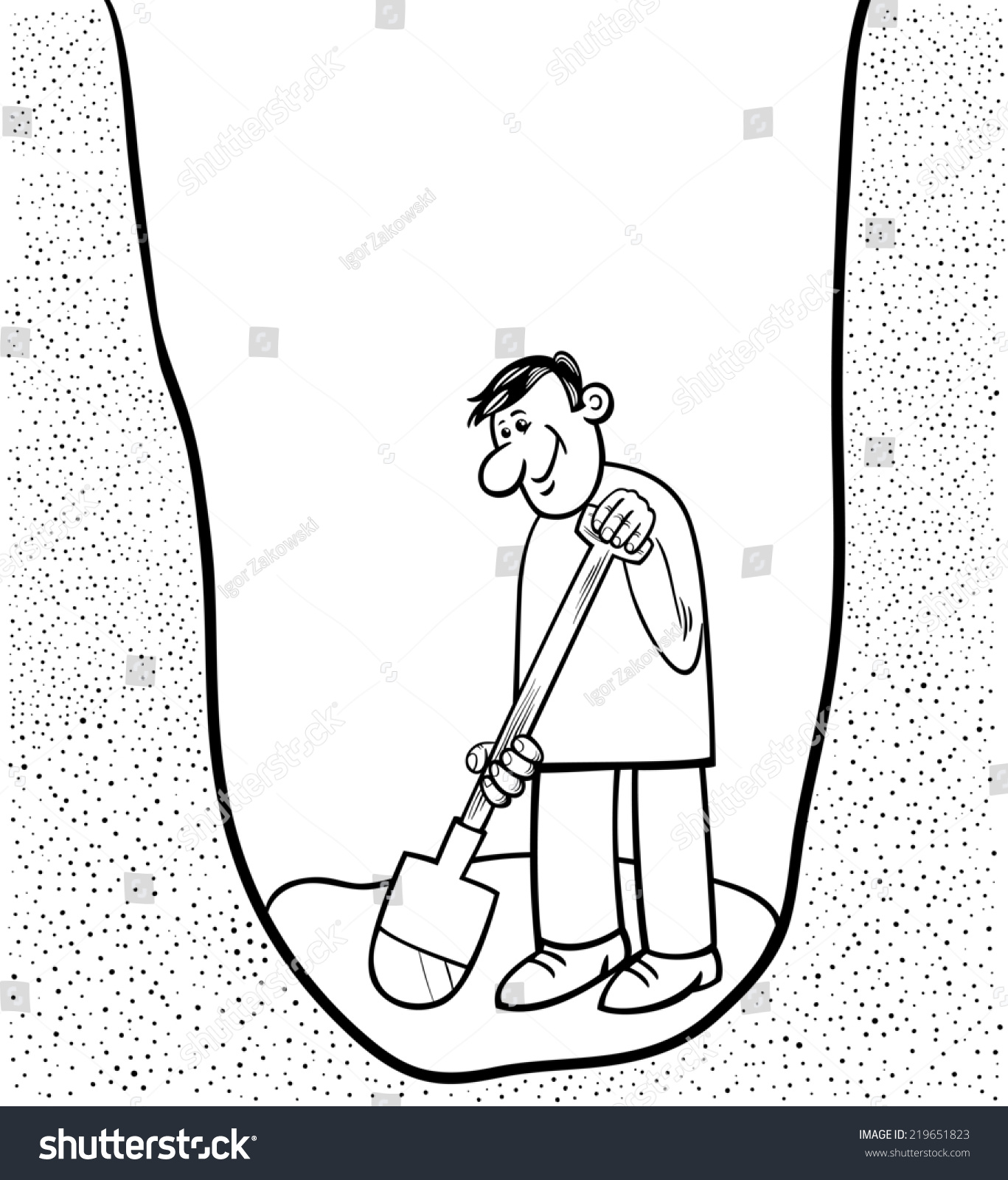 Black and white cartoon illustration of funny man digging for Black hole coloring page