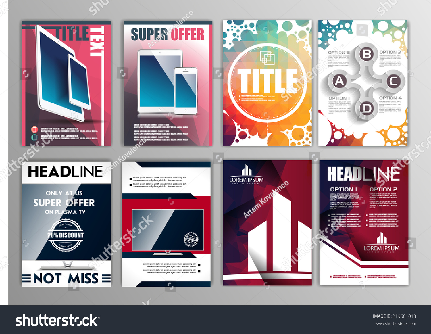 vector set of flyers templates brochures a size abstract save to a lightbox
