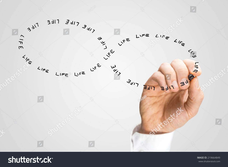 Hand Writing Word Life Shape Infinity Stock Photo Edit Now