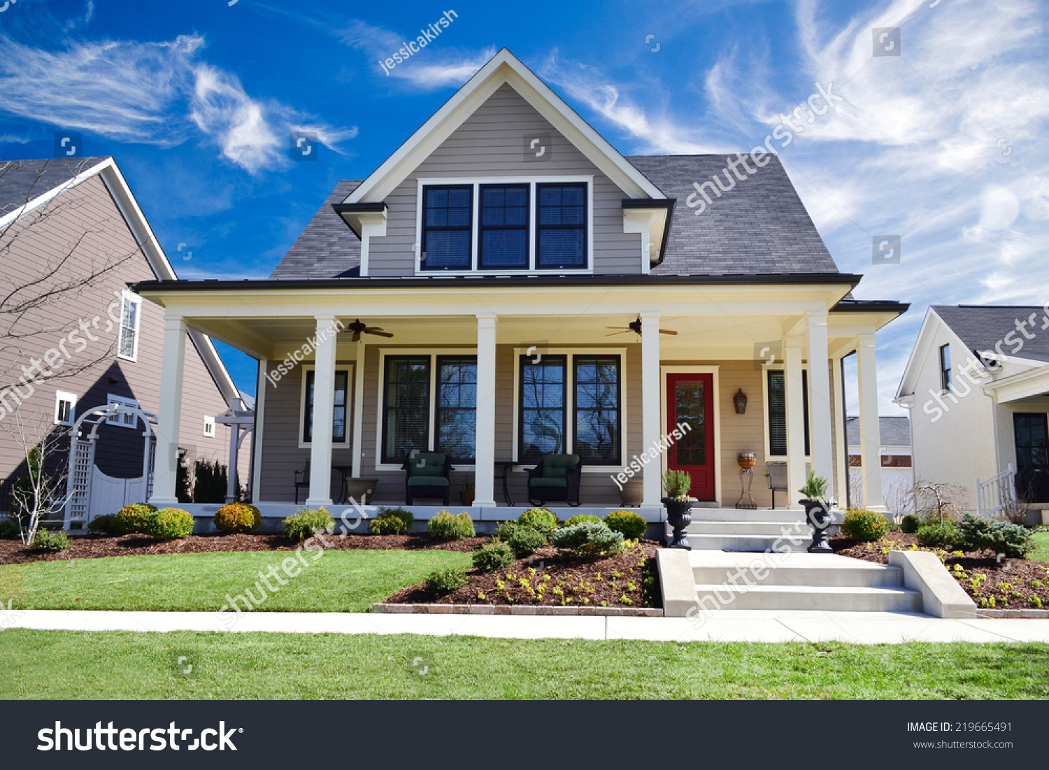 Brand new custom dream home huge stock photo 219665491 for Custom dream house