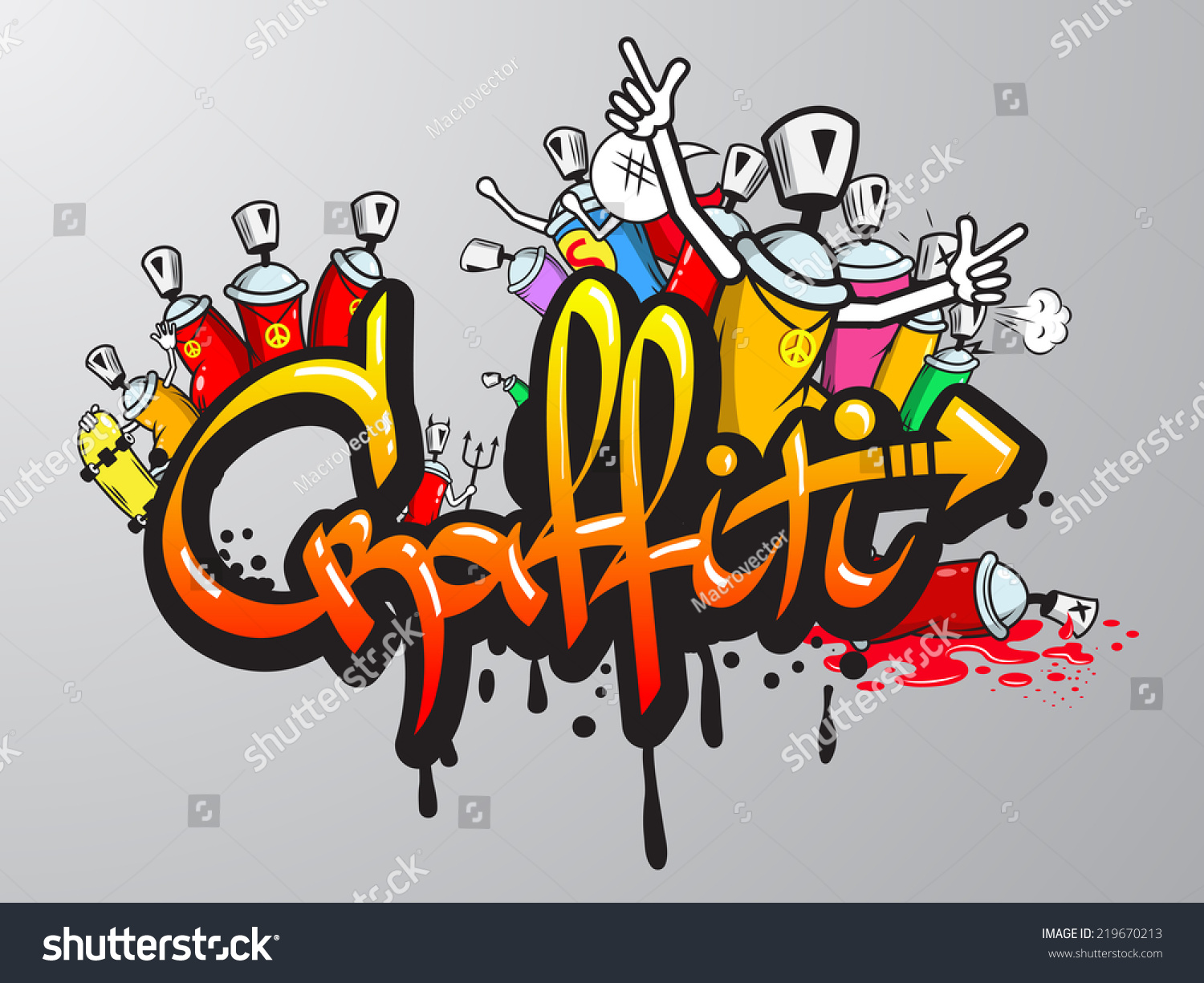 Graffiti wall clipart - Decorative Graffiti Art Spray Paint Letters And Characters Composition Abstract Wall Aerosol Sketch Grunge Illustration