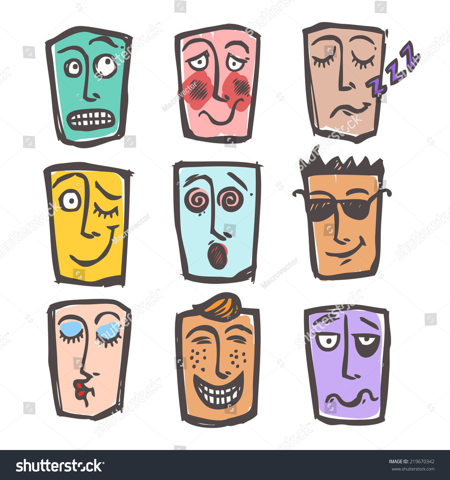 Sketch emoticons face expressions and emotions colored icons set of cool scared laughing man isolated illustration
