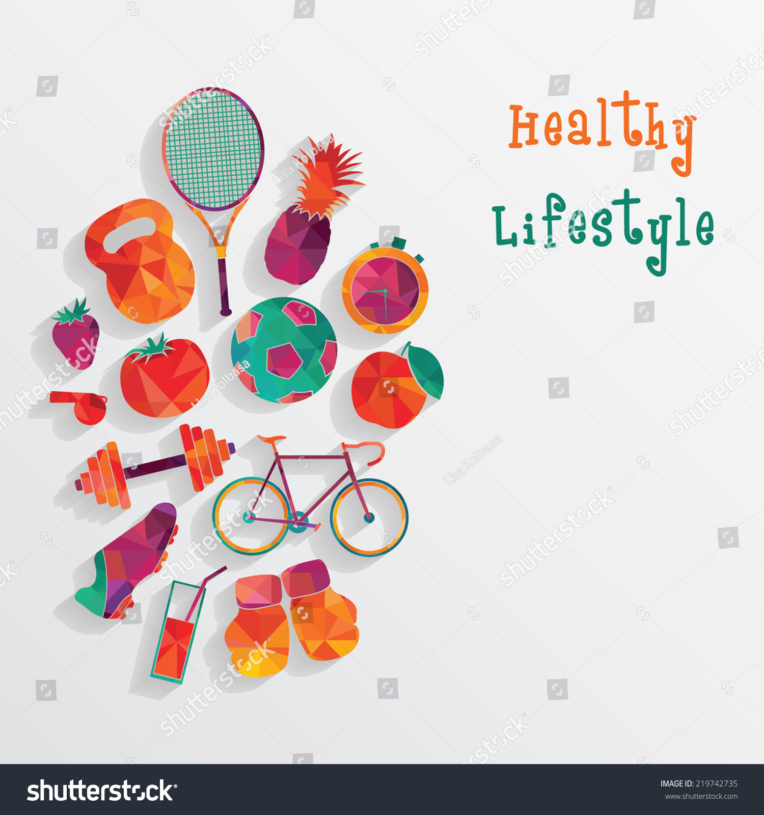 healthy lifestyle background stock vector 219742735