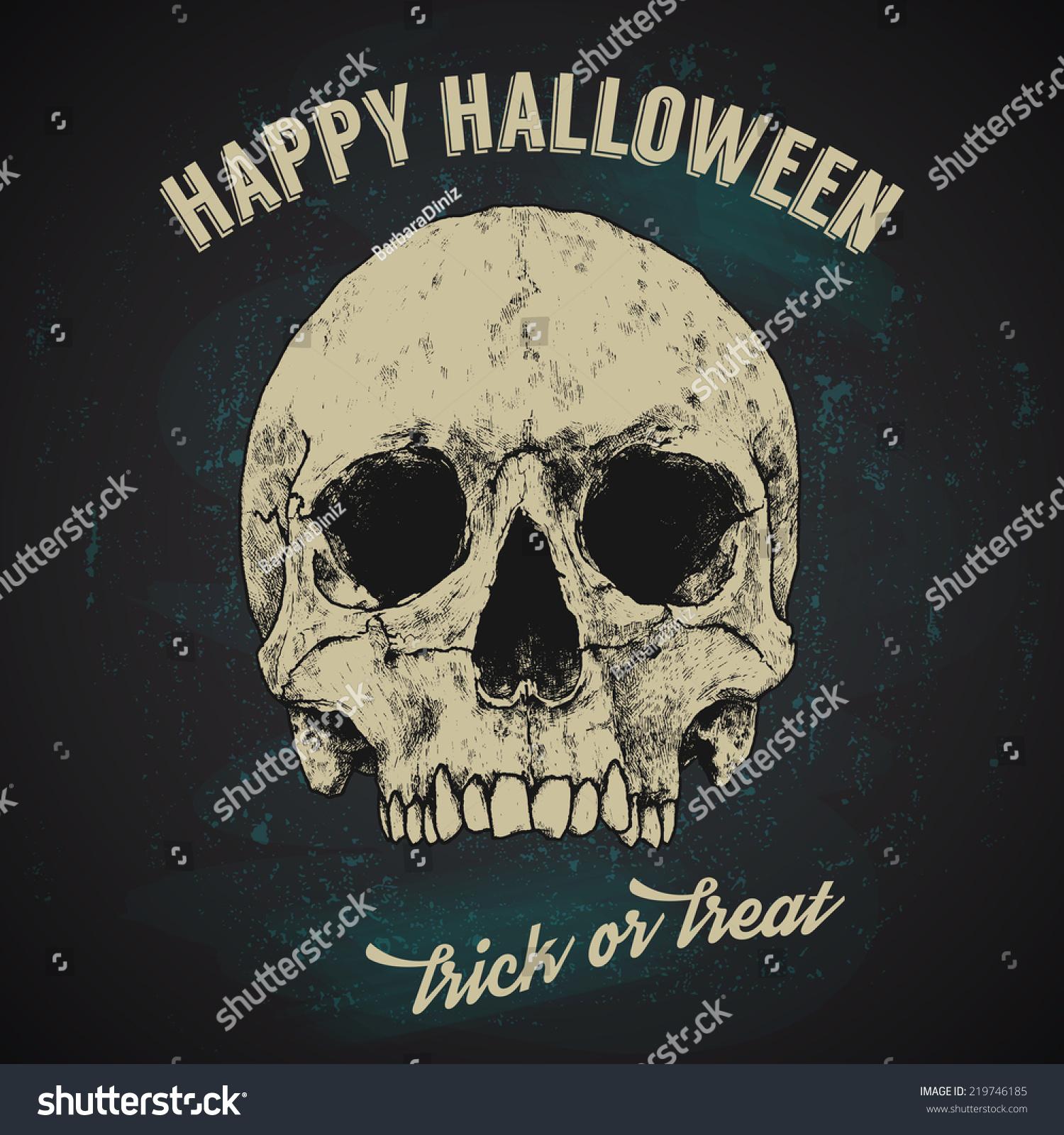 halloween greetings poster design hand drawn skull vintage