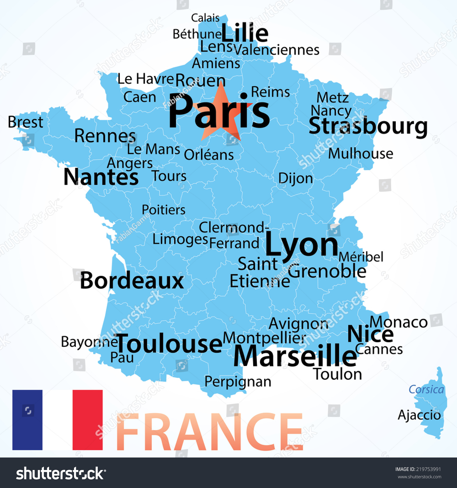 France vector map largest cities carefully vector de stock219753991 france vector map with largest cities carefully scaled text by city population geographically gumiabroncs
