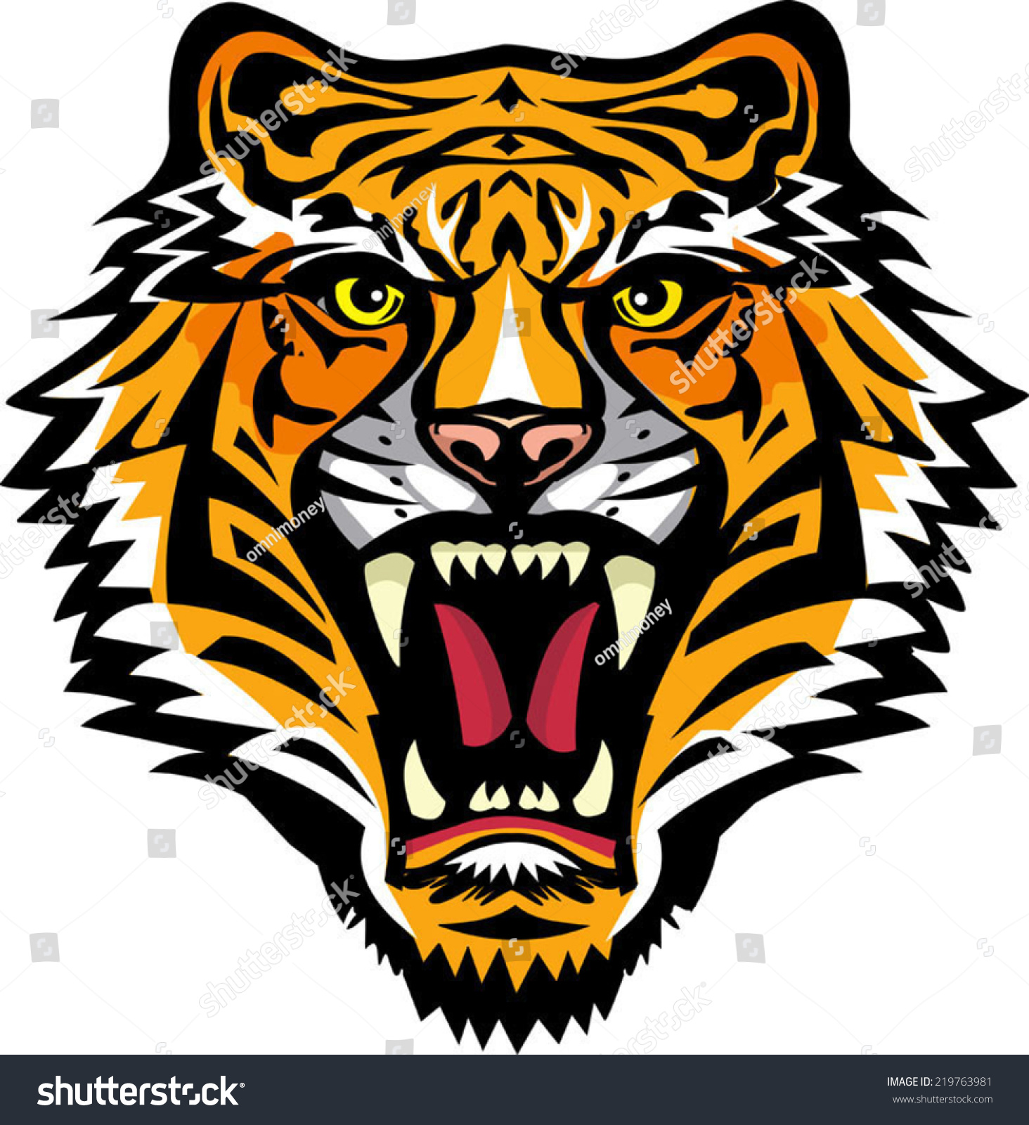 color tiger tattoo vector illustration tiger stock vector
