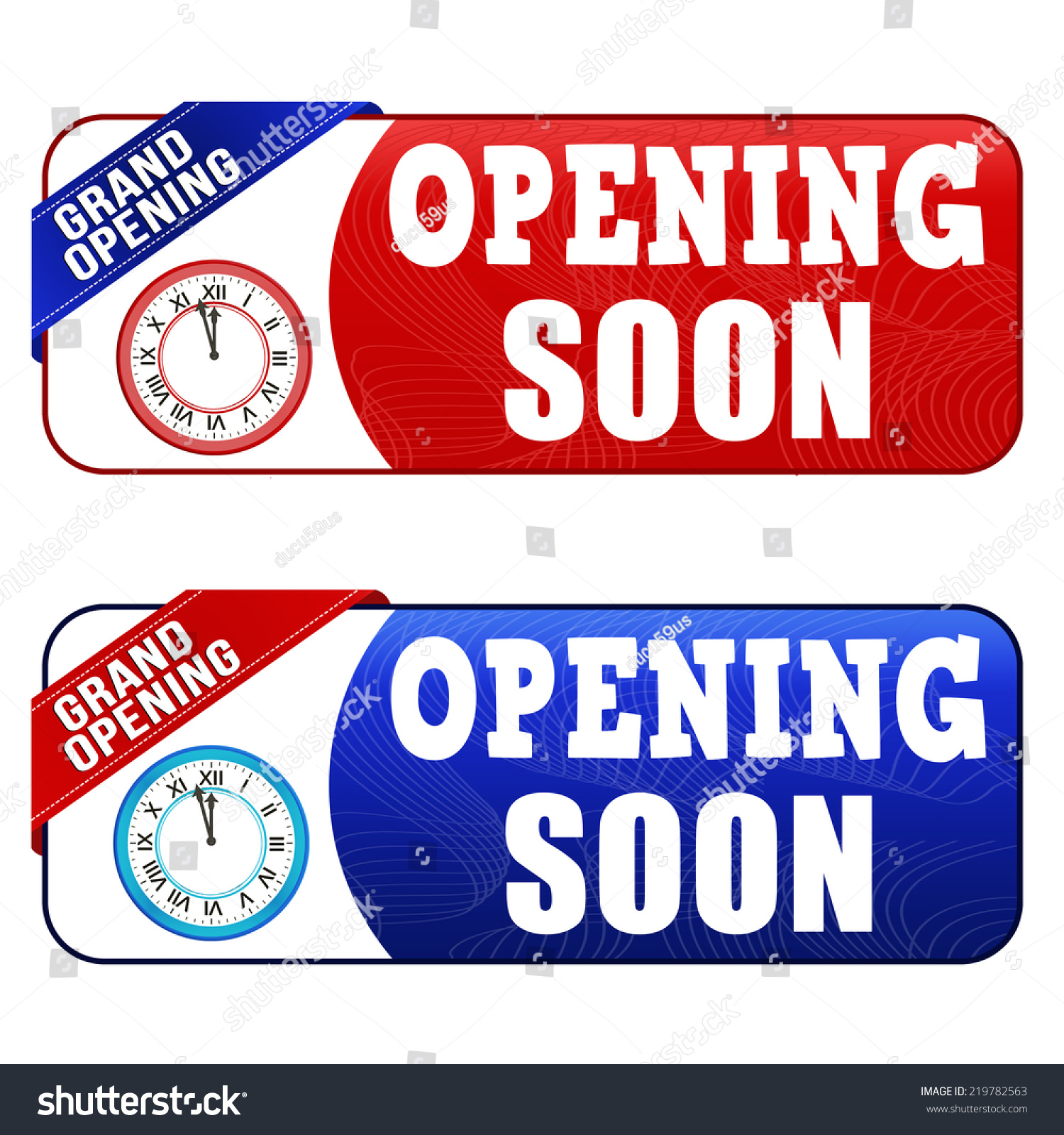 Opening soon coupon voucher tag Red and blue template with frame vector illustration